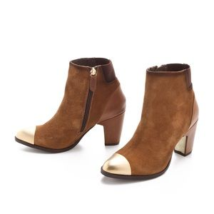 Miista Shoes - Miista Mansi Congac Gold Cap Toe Booties